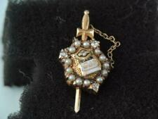 OLD PHI DELTA THETA FRATERNITY PIN SOLID 14K GOLD ENAMEL DIAMONDS SEED PEARLS