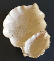California Originals Leaf Shaped Platter Chip Dip Tray Beige Gold Detail 896 USA