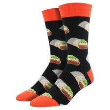 Socksmith Men's Crew Socks Burritos Mexican Food Favorite Black Novelty Footwear