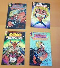 First Comics Badger Goes Berserk Full set mini series # 1-4  1989 $1.95 USA