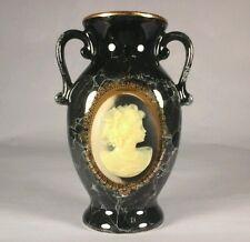 "CAMEO Vintage Art Vase BLACK Urn Decorative Ceramic 5.25 x 4"" Made in Japan"