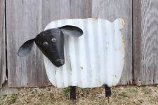 Recycled Metal Sanford Sheep Garden Stake Ribbed Tin Yard Art Farm Animals
