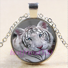 White Tiger Cub Blue Eyes Glass Cabochon Tibet Silver Pendant Necklace Free Gift