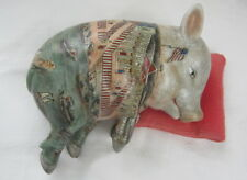 Hand Painted Sleeping Pig Japanese Chinese Figurine Vintage Porcelain Statue