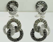 1.25 CTW BLACK/BROWN/CLEAR - INTERLINKED CIRCLES DIAMOND EARRINGS - 18K WT GOLD