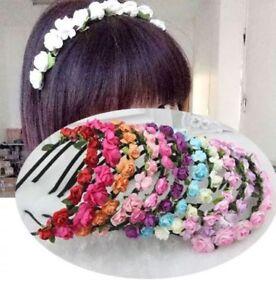 Rose Flower Head Boho Garland Girl Beach Crown Hair Band Headband Wedding