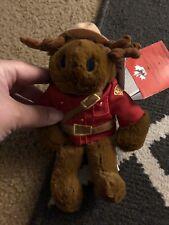 "Rcmp Sergeant Bullmoose stuffed moose Plush Animal 8"" tall Nwt Collectible"