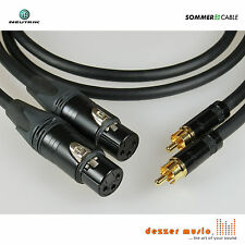 2x 1m Adapterkabel GALILEO NEUTRIK Gold/XLR female Cinch / Sommer Cable 1,00 TOP