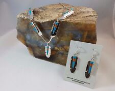Sterling Silver Feather Necklace and Earrings Inlaid Turquoise and Orange Spiny