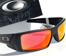 NEW* OAKLEY GASCAN Matte BLACK w Ruby Fire Iridium lens Sunglass 9014-03