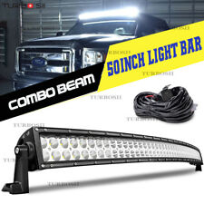 Offroad 50inch LED Work Light Bar Curved Flood Spot Combo Truck Roof Driving 52