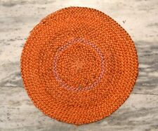 Indian Braided Jute Hemp Door Mat Orange Round 1.5x1.5 Feet Rug Carpet DN-2023