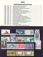 1962 Year Commemorative Postage Stamp Full Year Set Mint Never Hinged