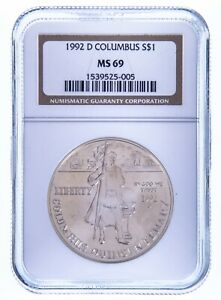 1992-D Columbus Commemorative Silver $1 Graded by NGC as MS-69