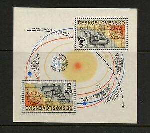 J975 Tchécoslovaquie 1985 Espace Halley's Comet Vega Feuille MNH