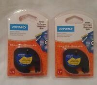 (2) DYMO LetraTAG 91332 12MM*4M Plastic Yellow Label DYMO Refills New Sealed