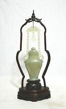 Well  Hand  Carved  Chinese  Celadon  Jade  Vase  On  Stand