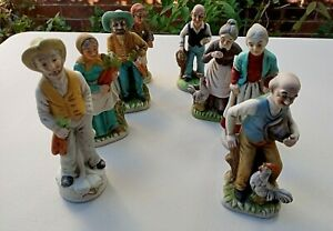 Vintage Statues Bulk Lot Old Man Old Woman Ceramic Hand Painted