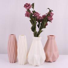 Geometric Origami Plastic Vase Imitation Ceramic Flower Pot Home Office Decor UK