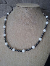 """19"""" SILVER plated HANDMADE white agate & HEMATITE NECKLACE"""