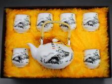 "Chinesisches Teeservice Porzellan ""Flötenspieler"" asiatische Keramik Teekanne"