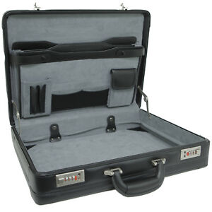 Alpine Swiss Expandable Leather Attache Briefcase Combination Locks Hard Case