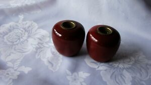 Pair Wooden candle holders APPLE Candle Holders Primitive Red