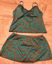 Victoria's Secret Bikini Skirt Swimsuit 38C Medium Green Brown Swimwear Bathing