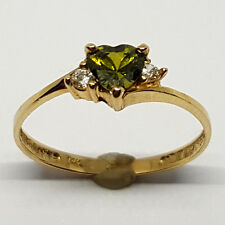 14K solid yellow gold 5mm Peridot heart shape faceted, white Topaz ring, size 7