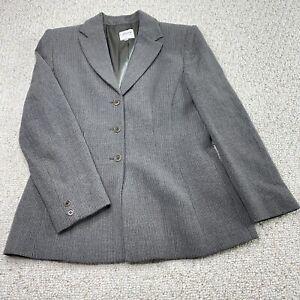 Armani Collezioni Womens Suit Jacket sz 10 Gray Pinstripe Pleated Lined Vintage