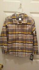 Boys Rock Yellow/Browns Plaid Long Sleeve Button Front Shirt Sz 6 NWT