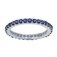 Stackable 925 Sterling Silver Blue Sapphire Stacking Full Eternity Band Ring