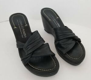 "Donald J Pliner Womens Vivi Black Leather Sandal Size 7.5 M Made Italy 3.5"" Heel"