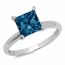 .5 ct Princess Cut London Blue Topaz Wedding Bridal Promise Ring 14k White Gold