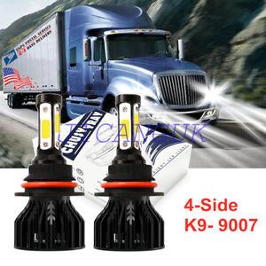 4-Sides 9007 HB5 LED Headlight Bulbs Conversion Kit For 2000-2016 Peterbilt Pete