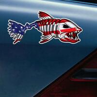 1Pc USA Bone Fish Sticker American Flag Fishing Cup Car Window Bumper Decal PET