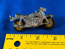 Vintage 60s-70s Toy Motorcycle Mini Silver Hard Plastic Hong Kong Yellow Wheels
