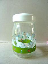 bocal, pot en verre Made in France, décor lapins, 1 litre, vintage des années 70