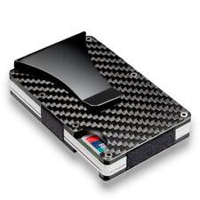 Fashion Man Slim Metal Carbon Fiber RFID Credit Card Holder Case With Money Clip