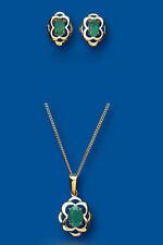 Emerald Colgante y Juego De Pendientes Oro Amarillo Sólido Contraste