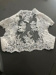 Beautiful lace bolero with faux pearls size 16 ivory colour