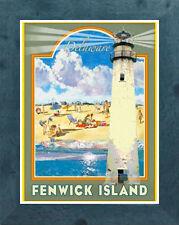 Fenwick Island, DE (Framed) Art Deco Style Travel Poster -by Aurelio Grisanty