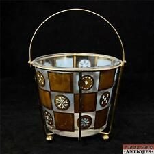 Starburst Snowflake MidCentury Blue Gold Geometric Pattern Ice Bucket & Caddy