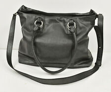 COLE HAAN Pewter Metallic Pebbled Textured Leather Large Convertible Satchel Bag