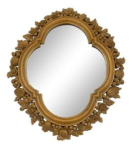 Vintage Wall Mirror with Natural Botanical Foliage Oak Effect Moulded Frame