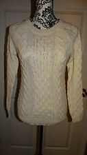NICE WOMANS FOREVER 21 KNIT SWATER LONG SLEEVE SIZE X SMALL COLOR IVORY