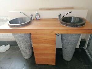 Doppel-Waschbecken aus Mamormit mit massive Echtholz Platte und Unterschrank