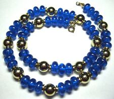 VINTAGE 1950s Electric BLUE LUCITE Early Plastic BEAD Costume Jewellery NECKLACE