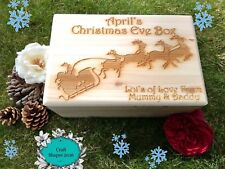Personalised Engraved Christmas Eve, Wooden Pine Box, Christmas Eve Treats