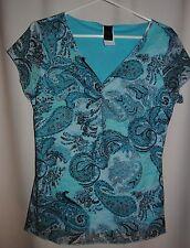 Junior's WRAPPER Multi Color Paisley Design Mesh Knit Top Size L
